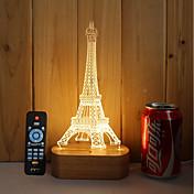 1 juego de 3d de madera maciza led luz de la noche lámpara de estado de ánimo usb control remoto oscurecimiento de la torre de regalo
