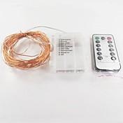 1 unid 10 m 100 leds hilo de cobre luces de hadas luces decorativas para fiesta de bodas de vacaciones de navidad con control remoto