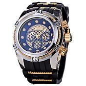 Hombre Cuarzo Reloj Deportivo Japonés Calendario Cronógrafo Resistente al Agua Silicona Banda Casual Moda Cool Negro Azul