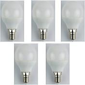 5pcs 4W 310lm E14 Bombillas LED de Globo G45 6 Cuentas LED SMD 3528 Blanco Cálido 180-240V