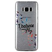 케이스 커버 Samsung Galaxy 용 S8 S7 뒷면 커버 반투명 엠보싱 텍스쳐 패턴 광택 단어 / 문구 카툰 글리터 샤인 소프트 TPU S8 S7 S6 용