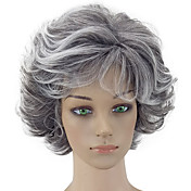 hairjoy 여성 인조 합성 가발 잛은 컬리 그레이 레이어드 헤어컷 내츄럴 가발 코스튬 가발
