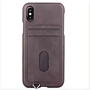 Etui Til Apple iPhone X iPhone 8 iPhone 8 Plus iPhone 6 iPhone 7 Plus iPhone 7 Kortholder Bakdeksel Helfarge Hard PU Leather til iPhone X