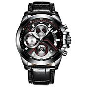 CADISEN Hombre Cuarzo Reloj de Pulsera Chino Calendario Resistente al Agua Noctilucente Cronómetro Cuero Auténtico Banda Moda Cool Negro