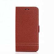 Etui Til Huawei Y6 (2017)(Nova Young) Y5 III(Y5 2017) Kortholder Lommebok med stativ Flipp Heldekkende etui Helfarge Hard PU Leather til