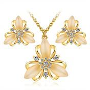Mujer Pendientes cortos Collar Zirconia Cúbica Cristal Zirconio Diamante Sintético Legierung Flor Clásico Elegant Moda Diario 1 Collar