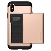 Etui Til Apple iPhone X iPhone 8 Kortholder Bakdeksel Helfarge Hard PC til iPhone X iPhone 8 Plus iPhone 8 iPhone 7 Plus iPhone 7