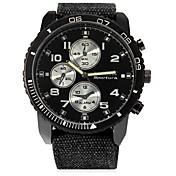 JUBAOLI Hombre Cuarzo Reloj Casual Chino Esfera Grande Acero Inoxidable Piel Banda Cool Negro