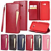 Etui Til Samsung Galaxy A5(2017) Kortholder Lommebok med stativ Flipp Heldekkende etui Helfarge Hard PU Leather til A5 (2017)