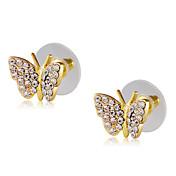 Mujer Mariposa Zirconia Cúbica Zirconio / Chapado en Oro Pendientes cortos - Clásico / Elegant / Moda Dorado Aretes Para Fiesta / Noche /