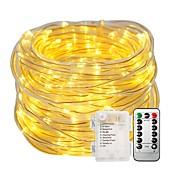 10 m Lysslynger Lyssett 100 LED Varm hvit Hvit Vanntett Dekorativ Batterier drevet 1set