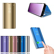 Funda Para Huawei P20 lite P20 con Soporte Cromado Espejo Funda de Cuerpo Entero Un Color Dura Cuero de PU para Huawei P20 lite Huawei