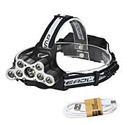 HKV Linternas de Cabeza / Lámpara LED 7000lm 6 Modo de Iluminación con cable USB Rapidez / Portátil / Vida Camping / Senderismo / Cuevas