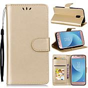 Etui Til Samsung Galaxy J3 (2017) Lommebok / Kortholder / med stativ Heldekkende etui Ensfarget Hard PU Leather til J7 (2017) / J5 (2017)