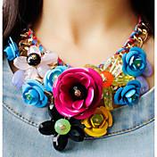 Mujer Cristal Trenzado Collares Declaración - Rosas, Flor Importante, Europeo, Festival / Celebración Verde, Azul, Rosa Gargantillas Para Fiesta, Ocasión especial, Cumpleaños