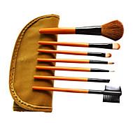 7 шт шерсти макияж кисть с бесплатным мешочек коричневой кожей