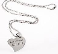 Недорогие -персонализированное сердце кулон ожерелье в серебряном сплаве элегантный стиль