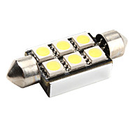 cheap -CANBUS Festoon 39mm 1W 6x5050 SMD White LED Car Signal Light
