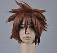 cheap -Cosplay Wigs Kingdom Hearts Sora Brown Short Anime/ Video Games Cosplay Wigs 30 CM Heat Resistant Fiber Male