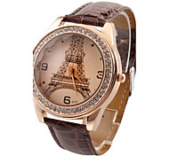 cheap -Women's Quartz Wrist Watch Imitation Diamond PU Band Casual Eiffel Tower Fashion Black White Red Brown Rose