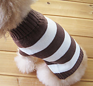 Cat / Dog Sweater Brown Dog Clothes Winter Stripe Fashion / Keep Warm