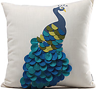 cheap -Classic Blue Peacock Polyester Decorative Pillow Cover