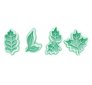 cheap -Leaf Pattern Cake and Cookie Cutter Mold with Plunger (4 Pieces)