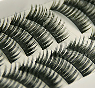 cheap -10 Pairs Black False Eyelashes Lengthening Thicker Fiber Natural Looking Curved Lashes Big Eye