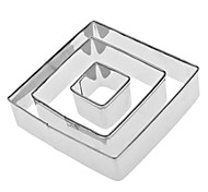 Square Shaped Stainless Steel Cookie Cutters Set (3-Pack)