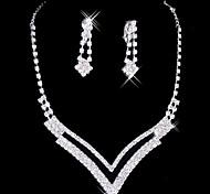 Великая серебряного сплава с покрытием комплект ювелирных изделий Rhinestone Свадебная