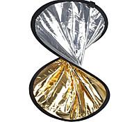 """24 """"2 en 1 plata dorada disco reflector plegable 60cm"""