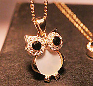Women's Pendant Necklaces Long Necklace Owl Rhinestone Shell Alloy Fashion European Vintage Cute Style Costume Jewelry Jewelry For Party