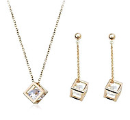 Jewelry Set Drop Earrings Pendant Necklaces Luxury Daily Casual Zircon Cubic Zirconia Alloy Earrings Necklaces