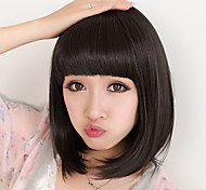 Cheap Women Synthetic Wigs Natural Black Straight Capless Short Bob High Quality Hair Wig Full Bang