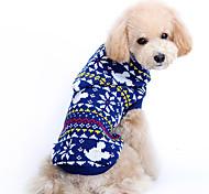 Недорогие -Собака Свитера Одежда для собак Очаровательный Рождество В снежинку Синий Костюм Для домашних животных