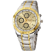 Men's Watch Dress Watch Gold Dial Alloy Band Wrist Watch Cool Watch Unique Watch
