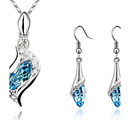 cheap -Women's Crystal Crystal / Cubic Zirconia / Silver Plated Drop Jewelry Set Earrings / Necklace - Rhinestone / Elegant / Fashion Green /