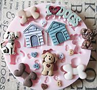 Недорогие -Симпатичные игрушки собаки Силиконовые Mold Фондант Пресс-формы Сахар Craft Инструменты Chocolate Форма для тортов