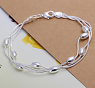 Sweet 20cm Women's Silver Copper Chain & Link Bracelet(Silver)(1 Pc) Christmas Gifts