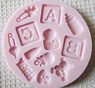 Недорогие -ABC РЕБЕНОК Силиконовые Mold Фондант Пресс-формы Сахар Craft Инструменты Chocolate Форма для тортов