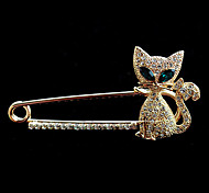 cheap -High-quality Crystal Cat Brooch