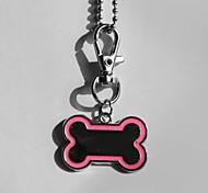 Presente personalizado óssea Forma Rosa e preto Id Pet Tag com Corrente para Cães
