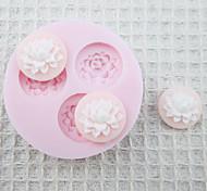 Mold Três 3D Buraco Flores Silicone Fondant Moldes Sugar Craft Moldes de chocolate para bolos
