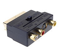 yongwei scart a compuesto 3rca s-video av tv adaptador de audio