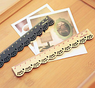 cheap -Lace Design Wooden Ruler(Beige)