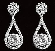 Boucles d'oreilles de femmes élégantes platine plaqué avec le Zircon de baisse de forme