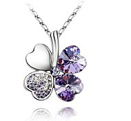 cheap -Women's Four Leaf Clover Shape Basic Fashion Simple Style Pendant Necklace Crystal Rhinestone Platinum Plated Alloy Pendant Necklace