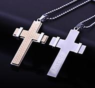 Недорогие -Персонализированные подарок ювелирных изделий из нержавеющей стали Креста формы с гравировкой ожерелье (В течение 10 символов)