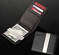 Недорогие -Бумажник мужской именной из кожзама со слотом для кредитных карт и металлическим зажимом для денег (надпись в пределах 8 символов)