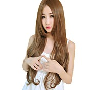 Женщина монолитным сторону взрыва Синтетические длинные волнистые парики 23 Inch 4 Цвета
